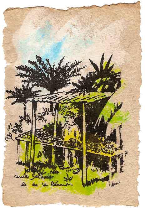 peinture et sérigraphie sur papier antaimoro